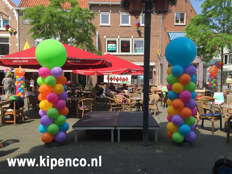 verjaardag ballonpilaar plein multicolour